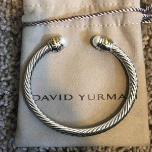David Yurman Pearl 925 silver 5mm cuff bracelet